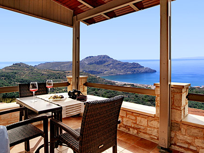 Breathtaking seaview to the bay of Plakias from the balcony of a top floor TYPE-B apartment