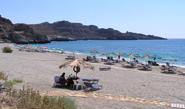 The Plakias sandy beach in Rethimnon, Crete