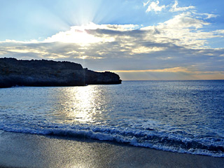 Winter Holidays in Crete - Schinaria beach on a Winter sunset