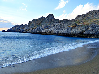Winter Holidays in Crete - Schinaria beach on a sunny Winter day