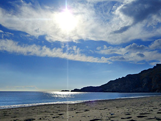 Winter Holidays in Crete - Damnony beach on a sunny Winter day