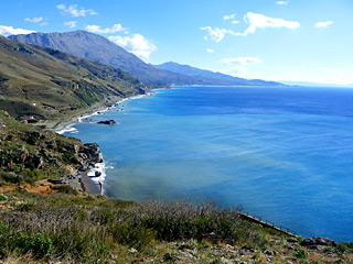 Winter Holidays in Crete - Preveli palm beach coast-line on a Winter sunny day