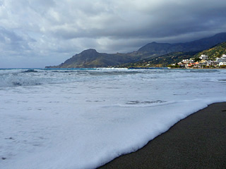 Winter Holidays in Crete - Plakias beach on a cloudy Winter day